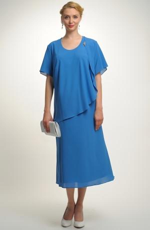 Dámské společenské šaty pro plnoštíhlé s řaseným sedlem na bok