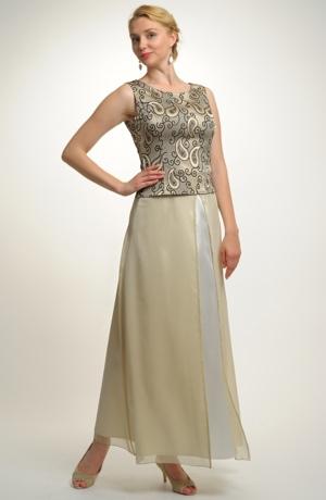Svatební a společenský top s dlouhou šifónovou sukní