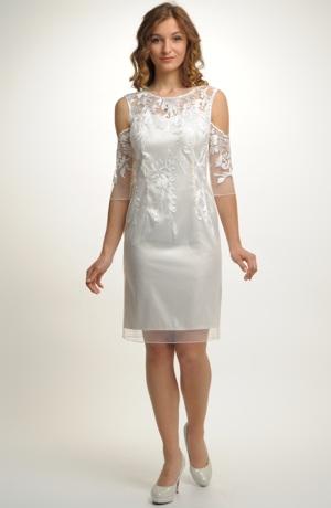 Elegantní pouzdrové šaty na svatbu z vyšívaného tylu