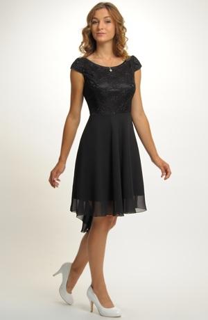 Elegantní černé koktejlové šaty z elastické krajky a lehké tkaniny, vel.42