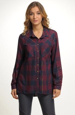 Společenská košilová károvaná halenka
