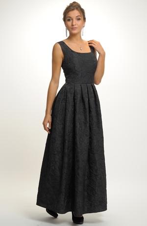 Luxusní černé dlouhé společenské šaty