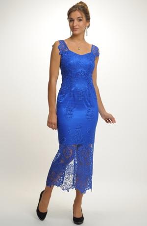 Luxusní dlouhé společenské krajkové šaty