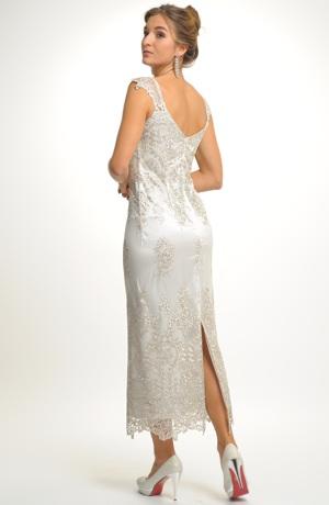 Luxusní společenské a svatební krajkové šaty v barvě champagne