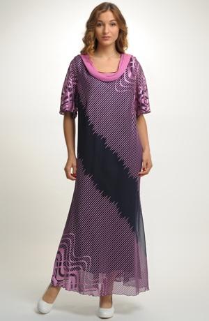 Šifonové šaty s řasením u výstřihu