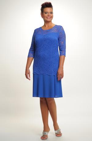 Elegantní dámské poudzdrové koktejlové šaty z krajky, vel. 46, 48