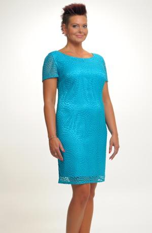 Společenské pouzdrové šaty z elastické krajky, vel.42 až 52 pro plnoštíhlé