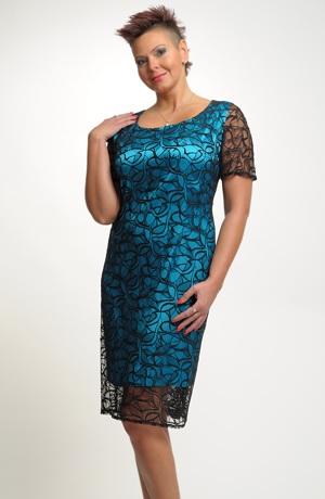 Elegantní dámské pouzdrové koktejlové šaty z krajky vel. 46, 48, 50