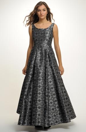 Dlouhé plesové taftové šaty se zvýrazněným pasem na maturitní ples