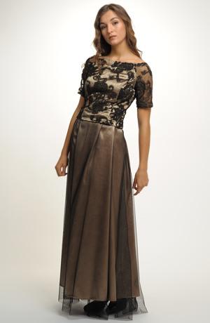 Dlouhá sukně ze zlatého saténu potažená černým tylem.