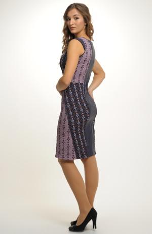 Elegantní dámské koktejlové šaty zdobí efektní členění