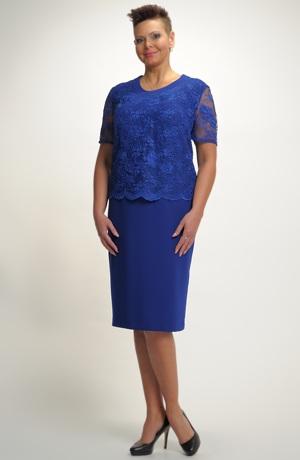Krátké šaty sE sedlem z luxusní krajky