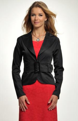 Sportovně elegantní černé bavlněné sako - sleva