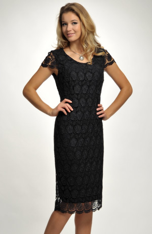 Malé černé krajkové koktejlové šaty pro plnoštíhlé, pro velikosti - XL, XXL...