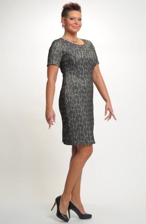 Krátké elegantní šaty vhodné na ples i na svatbu. Velikost 44