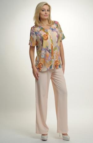 Kalhoty v jemné pastelové lososové barvě