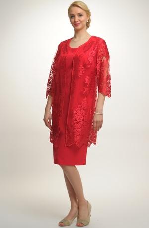 Luxusní společenský model - šaty s krajkovým kabátkem