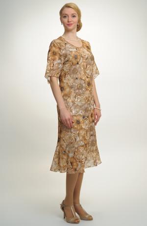 Dámské společenské letní šaty s elegantními květy