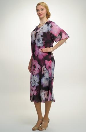 Společenské šaty pro plnoštíhlé zdobené květy. Šaty vhodné na svatbu, koncert atd.