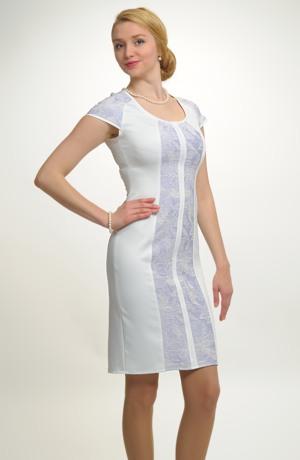 Tubové krátké šaty se vsadkou s plastickým vzorem
