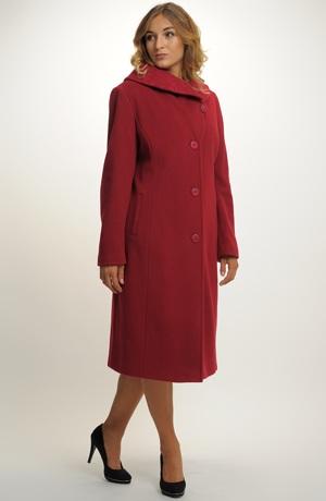 Elegantní jednořadový dlouhý dámský zimní kabát se vzorem na límci