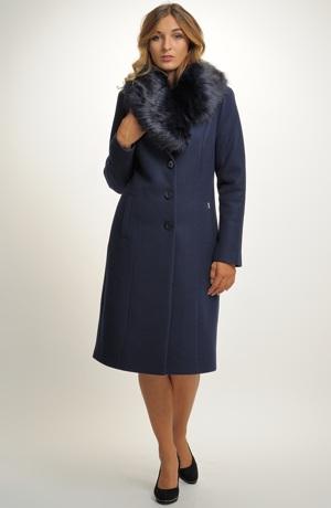Dámský flaušový kabát s kožešinou