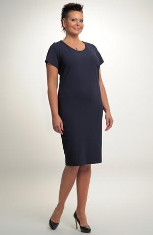 Dámské modré elegantní společenské šaty koktejlky v úzké tubové siluetě. Vel. 44,46.