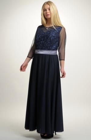 Elegantní dlouhé večerní šaty na ples pro plnoštíhlé