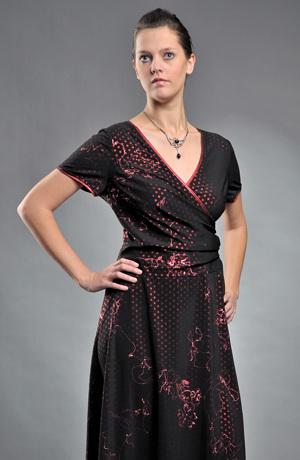Dámské společenské zavinovací šaty s potiskem