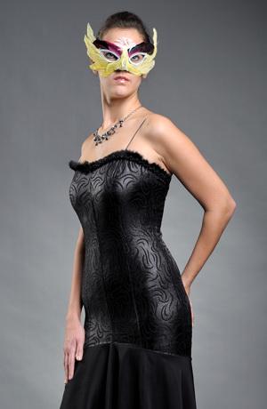 Luxusní černé dlouhé společenské šaty v přiléhavé siluetě s kolovou sukní, vel 36