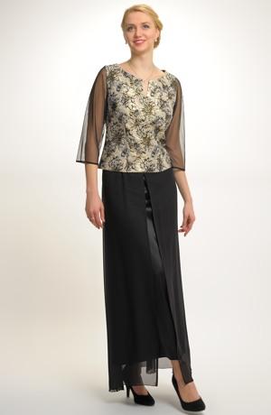Nadčasový komplet tvoří společenská halenka a dlouhá černá sukně