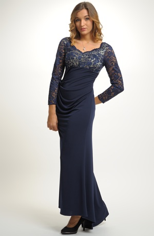 Elegantní dámské dlouhé večerní šaty s krajkou