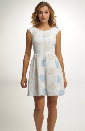 Smetanové společenské mini šaty se vzorem