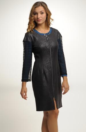 Černá šatová sukně zdobená imitací kůže