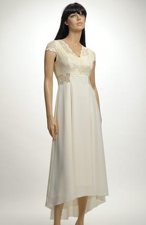 Elegantní svatební šaty do sedla v jemné vanilkové barvě