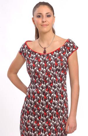 Dámské letní pouzdrové šaty s raglánovými minirukávky.