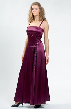 Dlouhé elegantní šaty na ples zdobené flitrovým hadem.