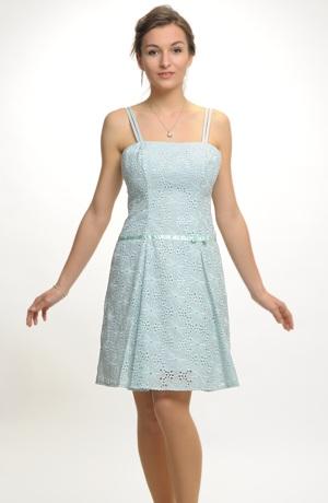 Dívčí společenské šaty s ozdobnou lesklou stuhou pod pasem