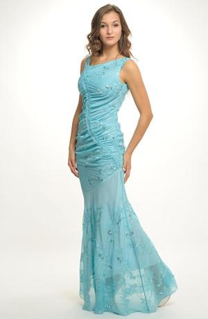Dlouhé společenské šaty v tyrkysové na ples i na svatbu. Vel. 36, 38