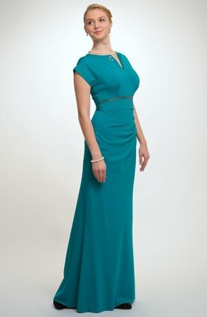 Elegantní dlouhé večerní šaty na ples pro plnoštíhlé, vel. 42, 46