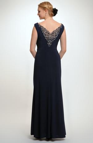 Elegantní plesové šaty s řasením na předním dílu a vodou