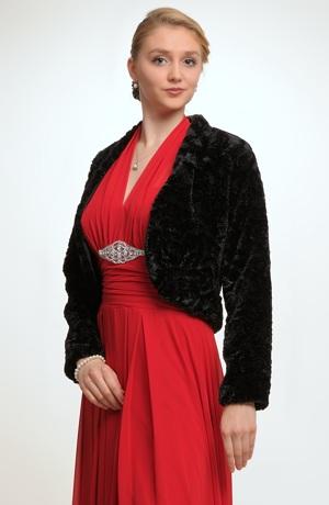 Černý kožešinový kabátek z umělé kožešiny