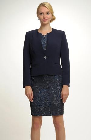 Dámské modré sako ze zajímavého moderního materiálu s elastanem