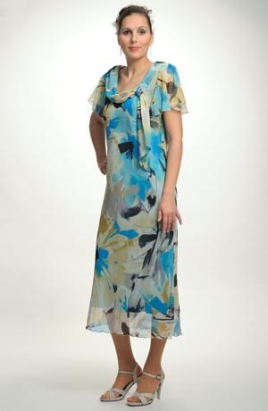 Společenské dlouhé šifonové šaty s rukávkem pro plnočtíhlé