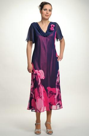 Luxusní dámské společenské šaty ze šifónu a s květy