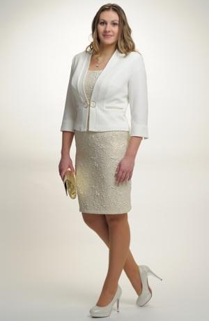Dámský luxusní kostýmek pro svatební maminky ve velikostech 40 až 48.