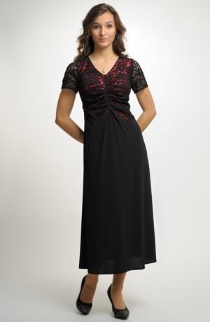 Elastické dlouhé večerní šaty z luxusní elastické krajky na živůtku.