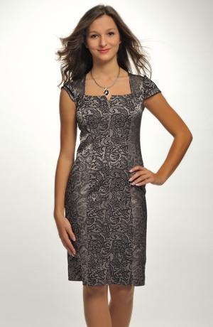 Krátké společenské šaty vhodné na promoci z jemného šifónu zdobené portou. Vel. 38, 40, 42