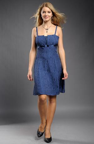 Společenské modré krátké šaty do sedýlka