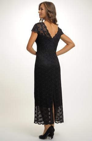 Malé černé krajkové koktejlové šaty pro plnoštíhlé, velikosti - XL, XXL...